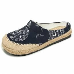 Mujer Lino de algodón casual al aire libre Cómodo de zapatos redonda dedo del pie holgado