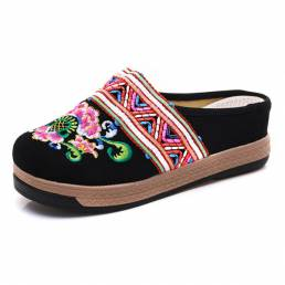 Mujer Paño de bordado zapatillas Estilo chino retro Sandalias