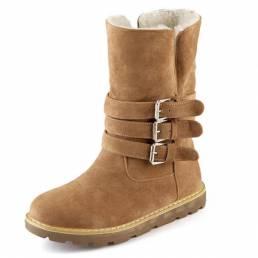 Invierno cómodo mantener el resbalón caliente en la hebilla de algodón ocasional de nieve de tobillo Botas