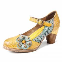SOCOFY Zapatos de tacón grueso con hebilla de cuero floral y correa en el tobillo Mary Jane Vestido Zapatos