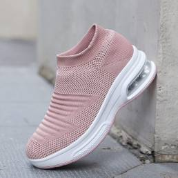 Zapatillas deportivas de punto a rayas cómodas informales para mujer