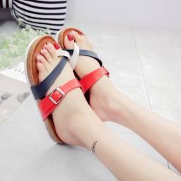 Mujer Comfy Soft Anillo de dedo del pie con empalme con hebilla Corcho plano Sandalias
