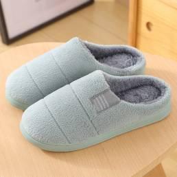 Zapatillas de casa cómodas de color sólido con forro de piel para mujer