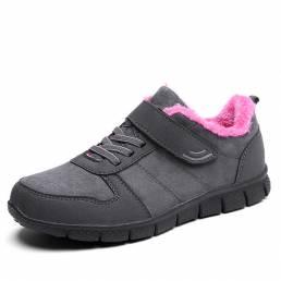 Zapatos de algodón forro de piel Gancho Bucle de pisos deportivos para Mujer