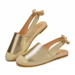 Alpargatas cómodas planas metálicas con punta cerrada informal para mujer Sandalias