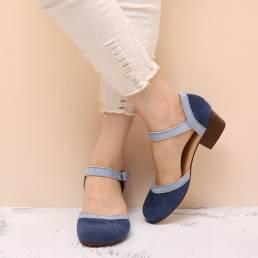 Zapatos de tacón de bloque con hebilla de punta redonda para mujer