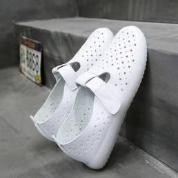 Mujer Ligero Ahuecado Transpirable Soft Gancho Zapatos planos cómodos casuales con lazo