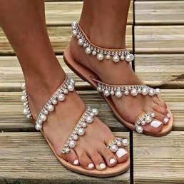 Mujer Bohemia Clip Toe Bead Decoración Slip On Elástico Banda Casual Holiday Playa Plano Sandalias