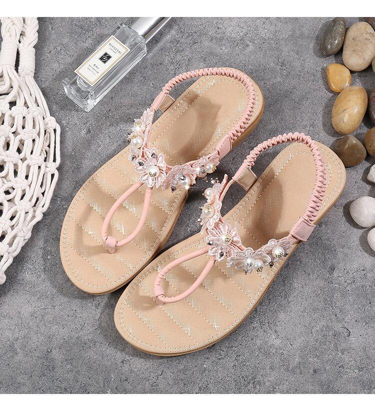 Zapatos planos de decoración de flores para mujer Slip On Sandalias
