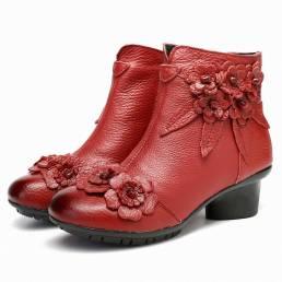 Mujer vendimia Piel Genuina Short tobillero de tacón bajo con flores hechas a mano Botas