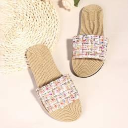 Mujer Casual Woven Soft Sole Flats Slide zapatillas