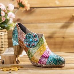 SOCOFY Zapatos de tacón grueso con cremallera de empalme de cuero floral retro Vestido Zapatos