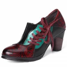 SOCOFY Mujer Piel Genuina Zapatos de tacón de primavera con flores en relieve retro de costura
