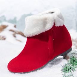Mujer Color sólido Cremallera lateral Pelusa cálida Rebordeado Nieve Botas