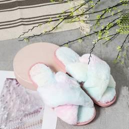 Zapatillas de felpa para el hogar de invierno con cinturón cruzado de color sólido para mujer