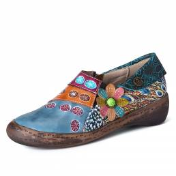 SOCOFY Retro Colorful Floral Splicing Fancy Patrón Zapatos planos de cuero con cremallera lateral