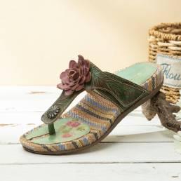 SOCOFY Tanga cómoda de rayas planas de cuero con estampado de flores retro Sandalias