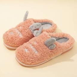Cute Antlers Forro cálido Casual Home Plush zapatillas