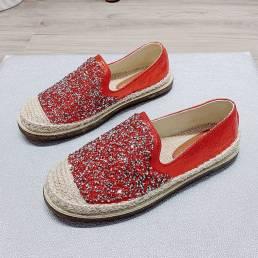 Zapatos náuticos con punta redonda tejida con lentejuelas casuales para mujer