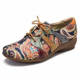 SOCOFY Zapatos planos con cordones y punta redonda estilo folk con empalme floral Retor de Paisley