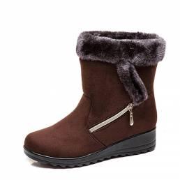 Cuñas de gamuza con forro cálido para mujer Invierno Nieve Botas
