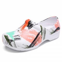SOCOFY Zapatos ligeros antideslizantes impresos en tinta antideslizante Zapatos antideslizantes de trabajo para jardín