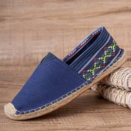 SOCOFY Ethnic Splicing Colorful Zapatos planos de alpargata informales cómodos y transpirables de lino a rayas