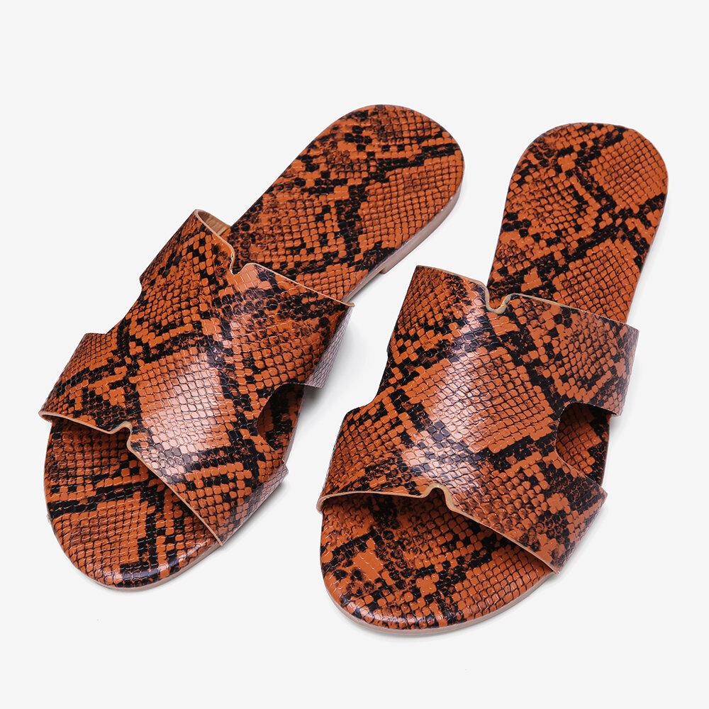 Slip-on plano estampado de piel de serpiente de mujer Sandalias