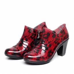 Mujer Zapatos de tacón alto lluvia Botas Impermeable Soft Bomba cómoda