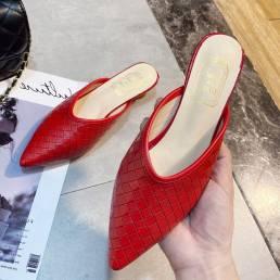 Zapatos casuales de tacones de cono trenzado con punta estrecha y sin espalda para mujer