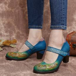 SOCOFY vendimia Recortes de cuero en contraste Gancho Zapatos de salón Mary Jane de tacón grueso con correa de lazo Vest