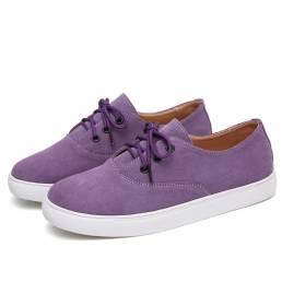 Zapatos planos casuales cómodos de gamuza de color sólido para mujer