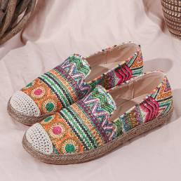 SOCOFY Bohemian Patrón Hollow Out Mesh Cloth Zapatos cómodos y cómodos con alpargatas casuales