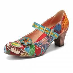 SOCOFY elegante decoración de flores tela estampada con costura floral Gancho lazo antideslizante Mary Jane zapatos de t