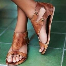 Mujer Roman Hollow Out Open Toe Summer Flat Sandalias