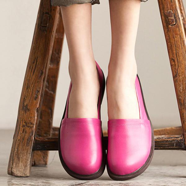 Zapatos de cuero Mujer Low Top Casual al aire libre Soft Slip On Flat Loafers