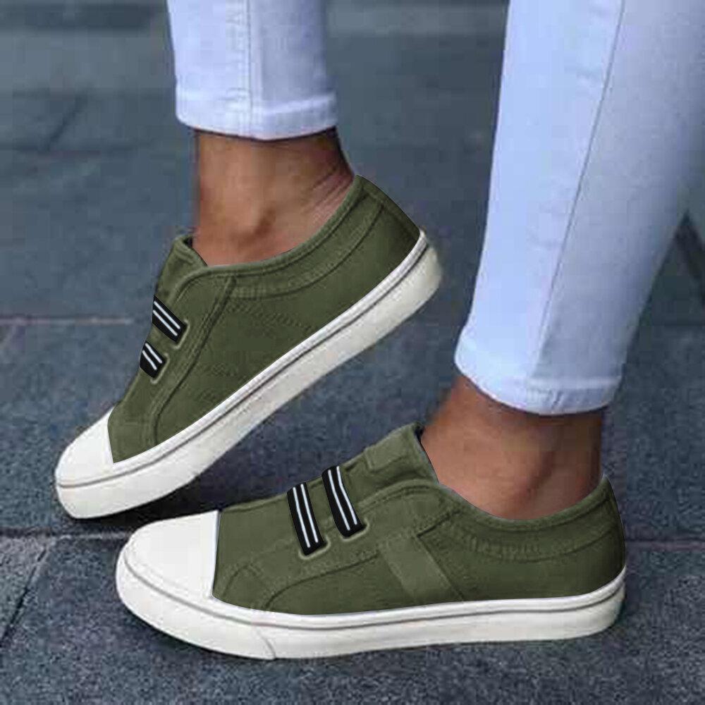 Zapatillas de lona de gran tamaño para mujer elásticas Banda Pisos casuales