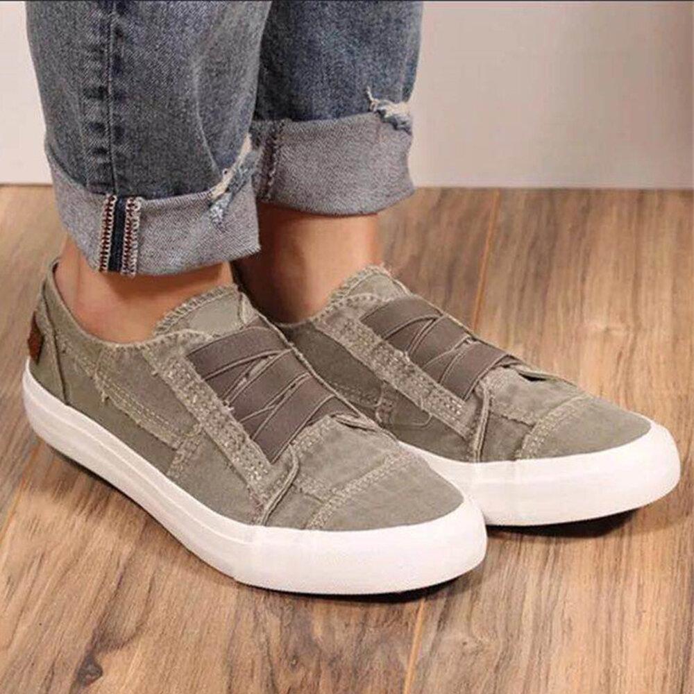 Mujeres Plus Tamaño Elástico Banda Slip On Color sólido Casual Daily Flats