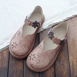 Mujer Dulce Casual Calico Banda Gancho Loop Hollow Out Transpirable Mocasines Zapatos