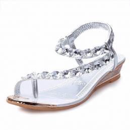 Mujer Verano Cuña Sandalias Moda Tacón bajo Casual Rhinestone Slip On Sandalias Zapatos