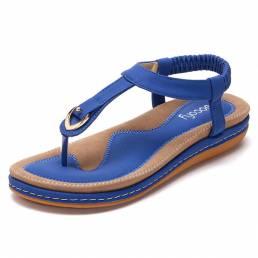 Mujeres Cómodo Clip Toe Slip ligero elástico en verano Playa Flat Sandalias