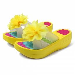 Mujer Verano zapatillas Chanclas Plataforma Floral Zapatos