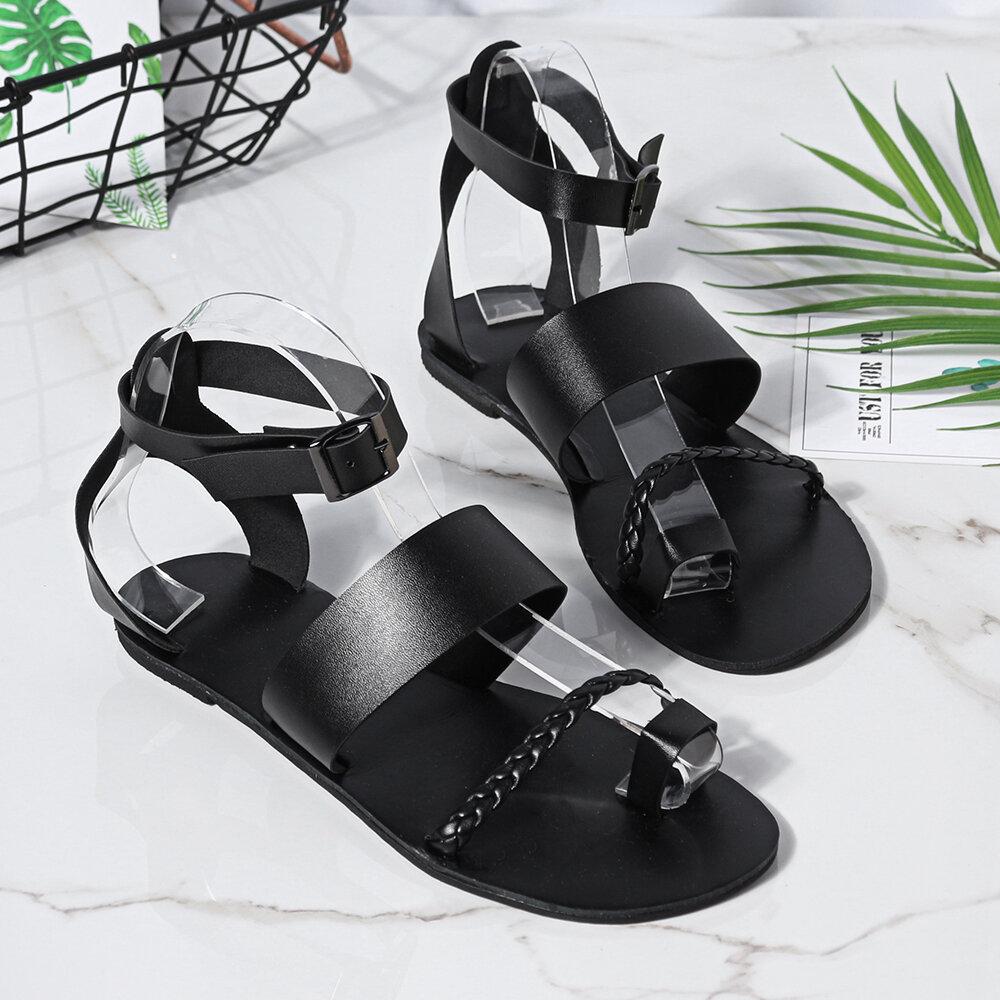 Mujer Summer Roman Black Clip Toe Hebilla Correa Flat Sandalias