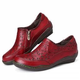 SOCOFY Cuero Recortes Florales Cremallera lateral Mocasines antideslizantes Zapatos planos antideslizantes