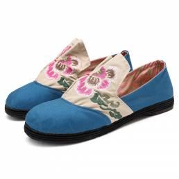 Folkways bordado floral Slip On Mocasines planos Zapatos