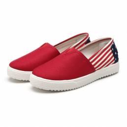 Mujeres Lona Low Top Flat Casual Cómodo Slip On Round Toe Flat Mocasines Zapatos