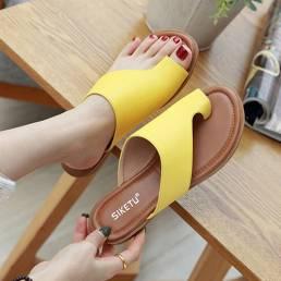 Mujeres Clip Toe Pure Color Casual Summer Flat Sandalias