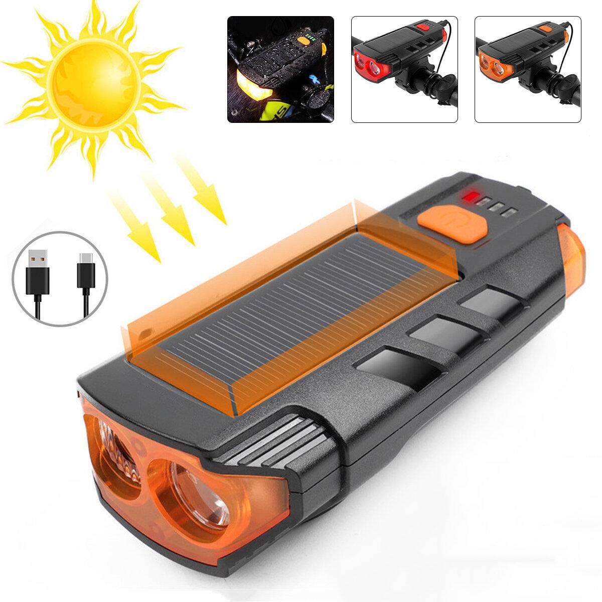 350LM 2xT6 LED Faro de bicicleta 5 modos Bicicleta Solar Luz frontal 6 modos 120 dB Bocina USB recargable Impermeable Li