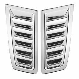 2 piezas universal Coche ABS plástico RS estilo capó respiraderos cromo plata con cinta libre