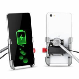 Soporte para teléfono de bicicleta con carga USB de aleación de aluminio giratorio de 360 ° Soporte universal para teléf